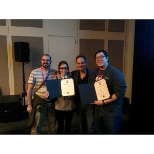 The Valencia team was all smiles at the Audio Engineering Society student competition in New York. From left, Valencia professor Joseph McBride, Valencia student Melodie Cros, competition director John Krivit and Valencia graduate Jonathan Luna.