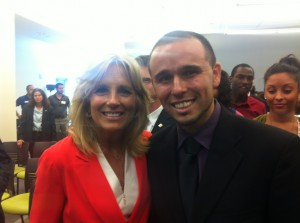 Second Lady Jill Biden with Angel Sanchez at Valencia College