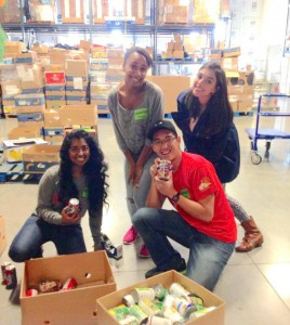 Cindy and members of the Pre-Med Club volunteering at Second Harvest Food Bank.