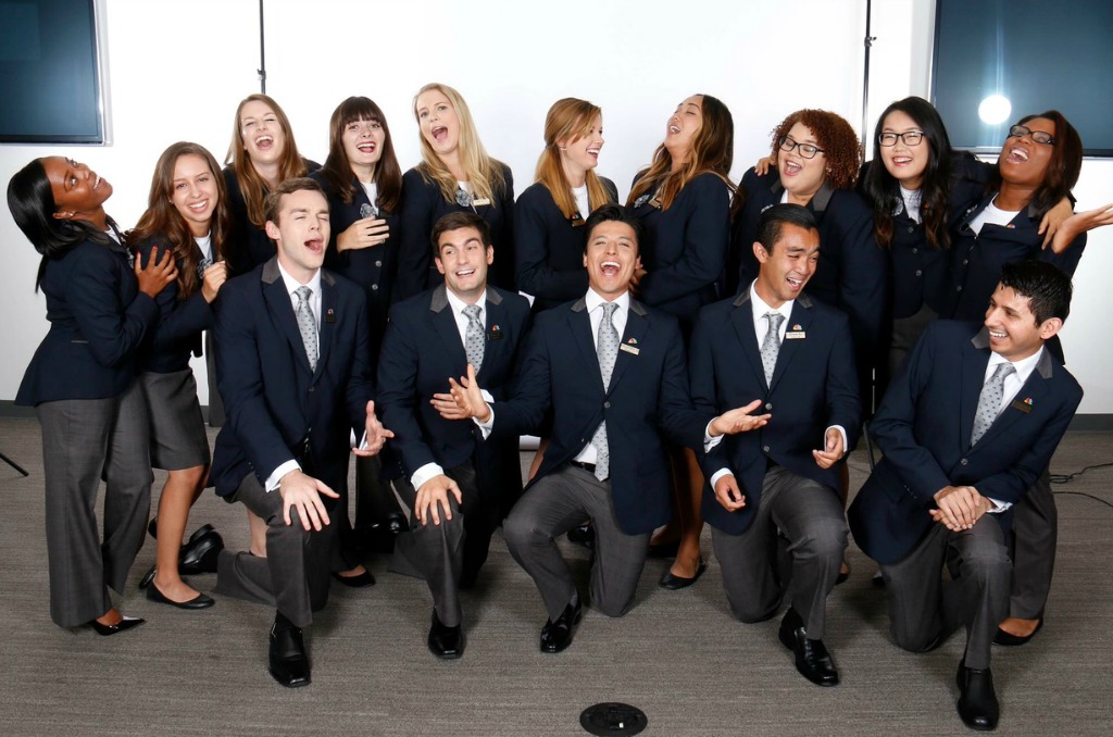 Valencia graduate Alejandro Sangines (center front) hams it up with his fellow NBC pages in Los Angeles.