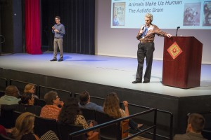 Temple Grandin speaks to a sold-out crowd at Valencia's Performing Arts Center.