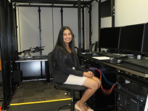 Dr. Crystal Maraj at work in the UCF Institute for Simulation and Training.