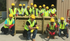 "Valencia's construction students built an ""entanglement box,"" used for the college's fire training facility. The box allows firefighters to practice crawling through tight spaces in in full gear."