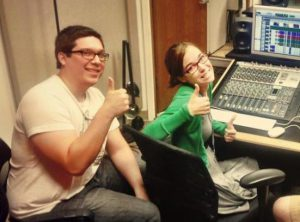 Melodie Cros (right) and Jonathan Luna working on a sound editing project in 2014.